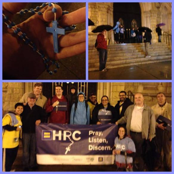 Triptych from our Tuesday night vigil outside Chicago's Holy Name Cathedral. Photo via Facebook page of Call To Action.