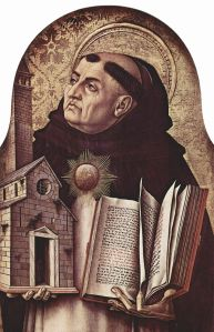 St. Thomas Aquinas, theologian. Carlo Crivelli, 15th cent. Via Wikipedia.